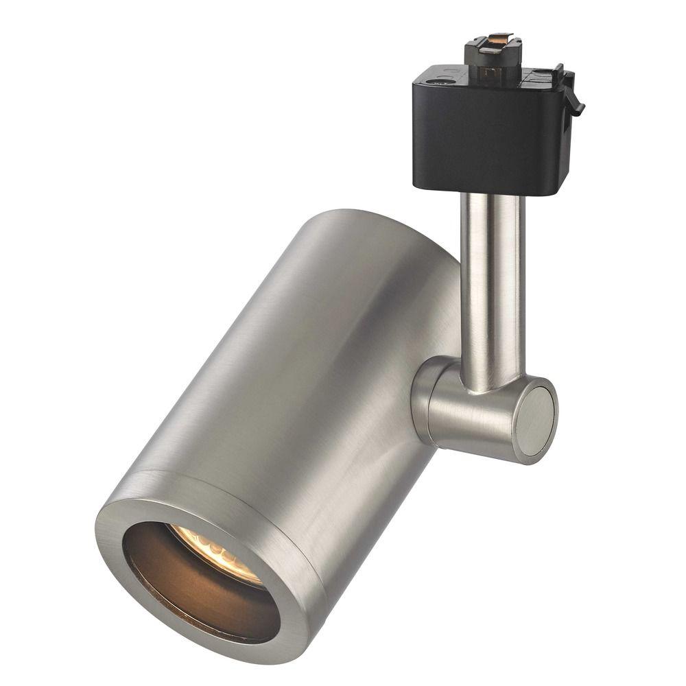cylinder track light head satin nickel gu10 base. Black Bedroom Furniture Sets. Home Design Ideas