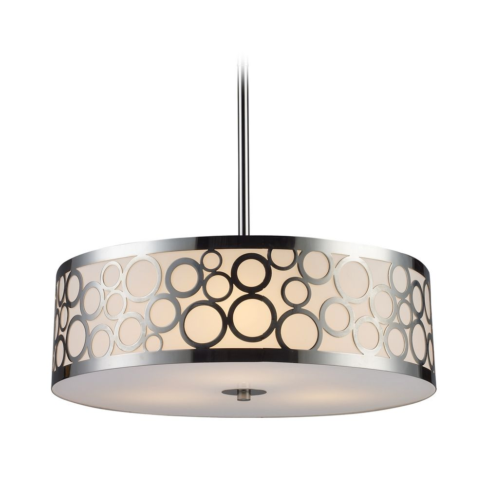 Modern Drum Pendant Light With White Gl In Polished Nickel Finish