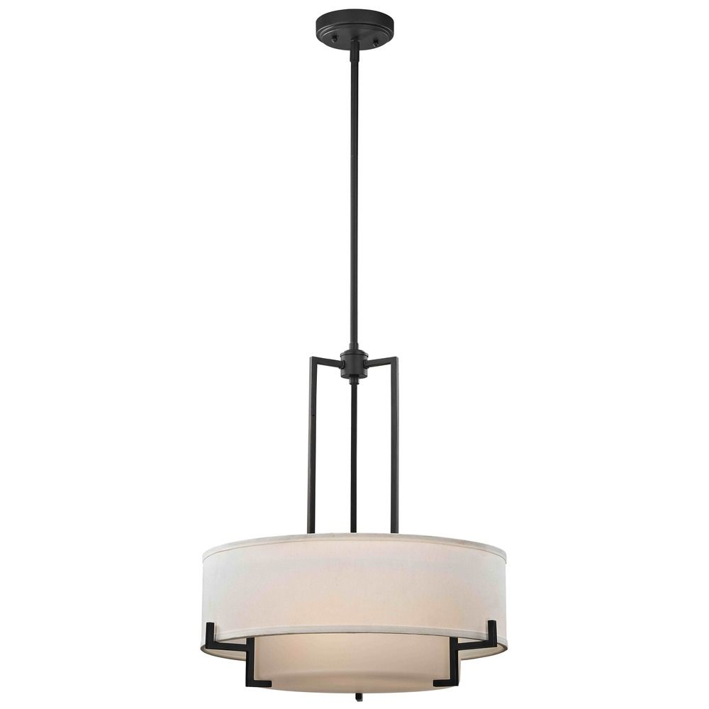 modern drum pendant light with white glass in bronze finish