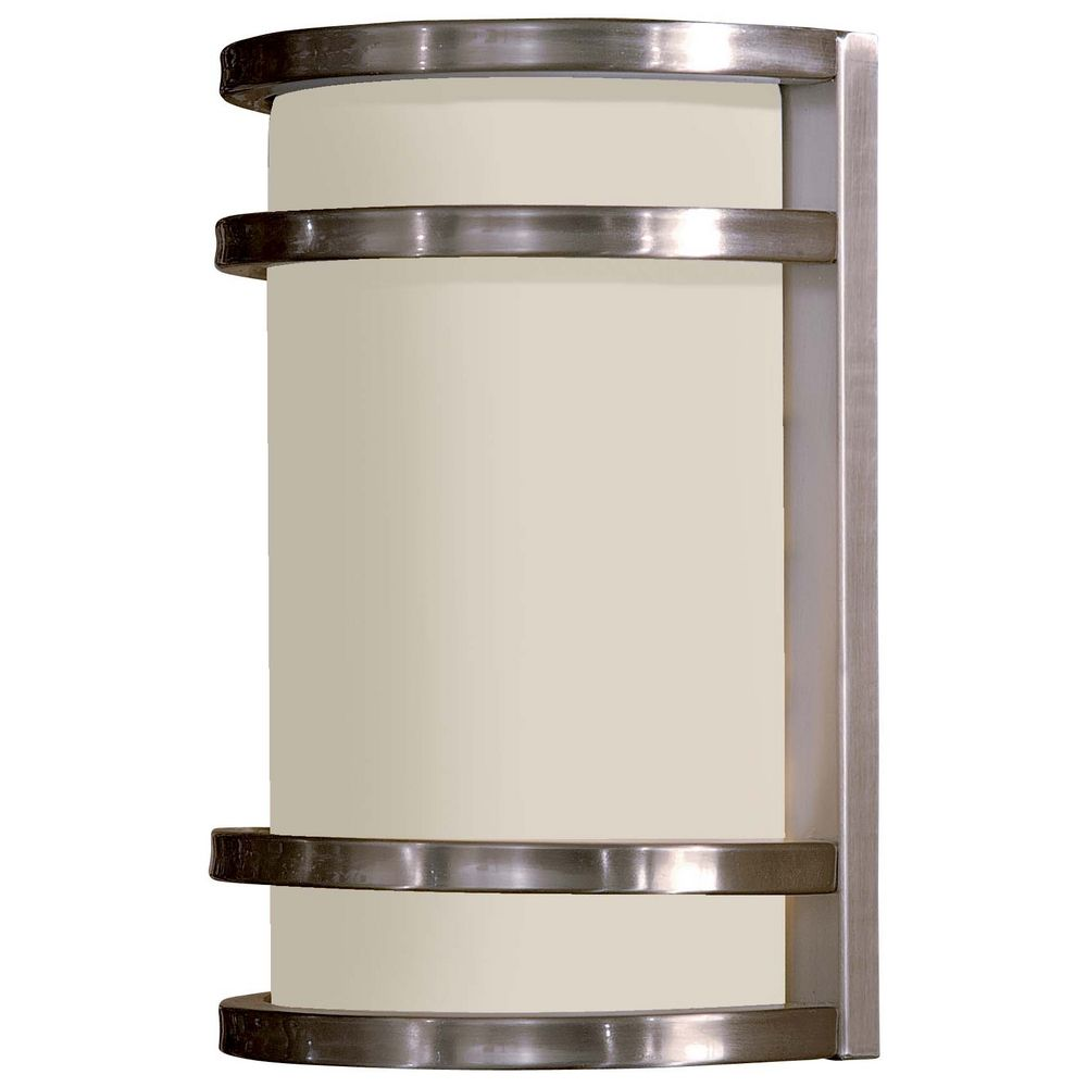 Modern Outdoor Wall Light With White Glass In Brushed