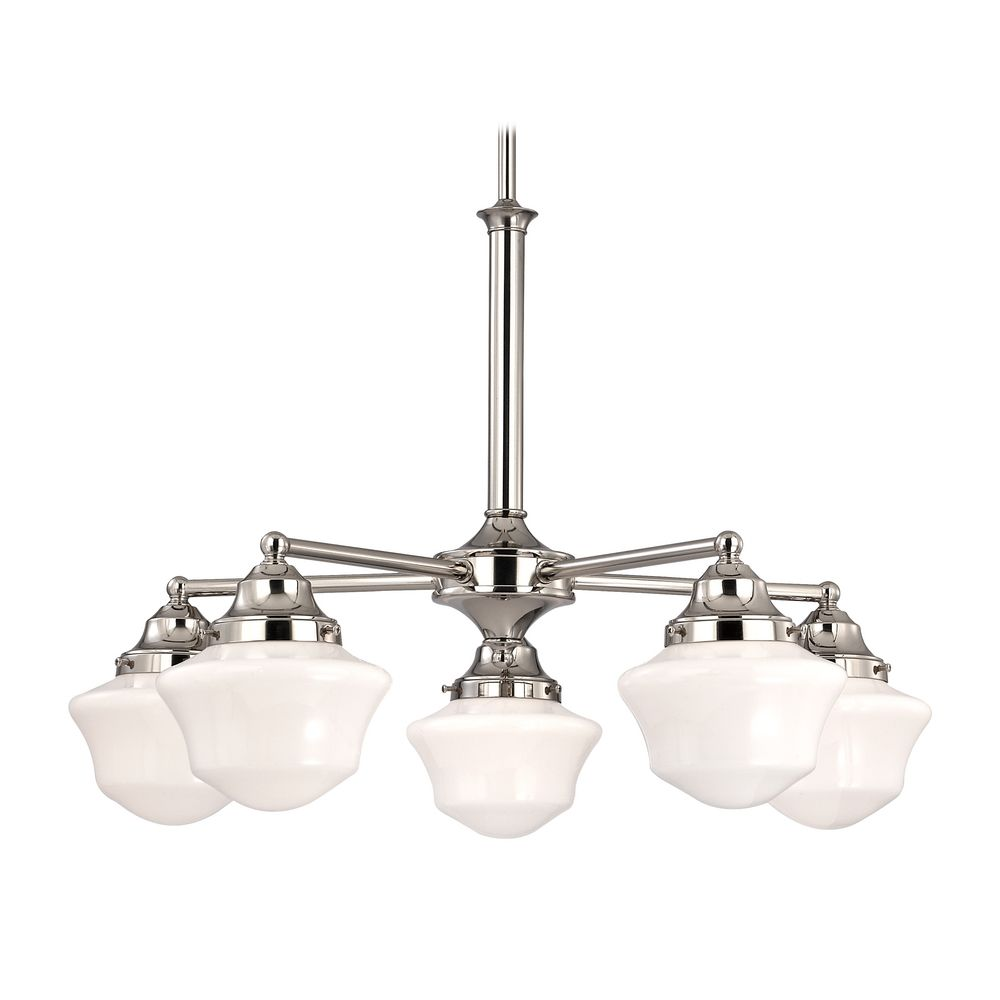 Product Image - Schoolhouse Chandelier With Five Lights In Polished Nickel Finish