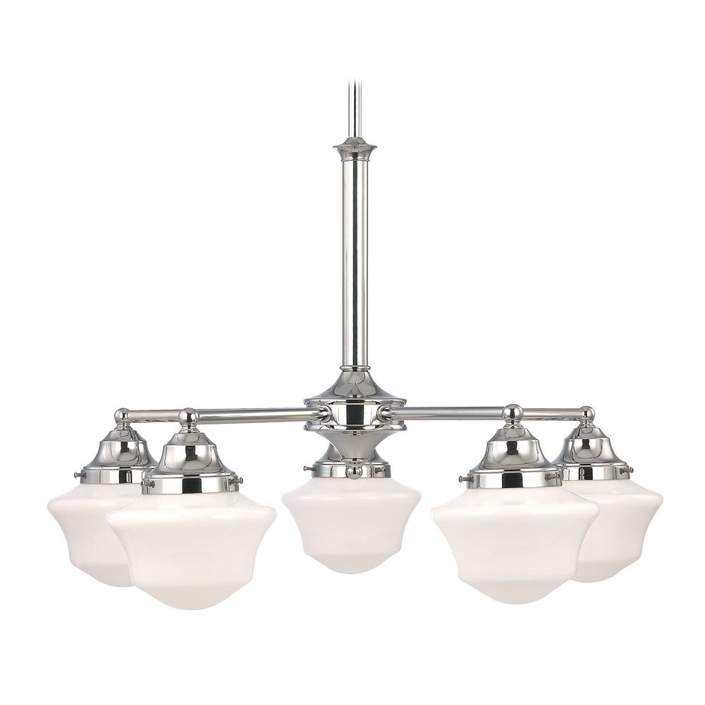 Schoolhouse Chandelier in Chrome Finish with Five Lights - Schoolhouse Chandelier With Five Lights In Bronze Finish CA5-220