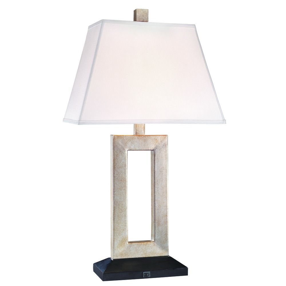 Bronze table lamp with rectangle white linen lamp shade 30 inch tall product image keyboard keysfo Gallery