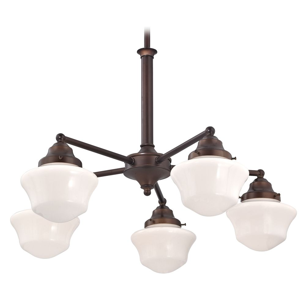 Schoolhouse Chandelier with Five Lights in Bronze Finish alt2 - Schoolhouse Chandelier With Five Lights In Bronze Finish CA5-220