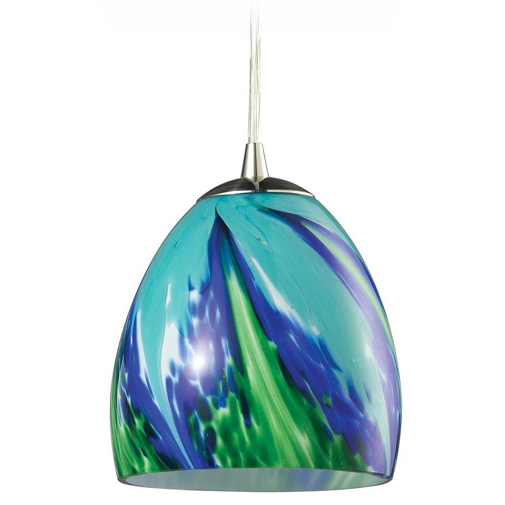 Mini Pendant Light With Blue Glass