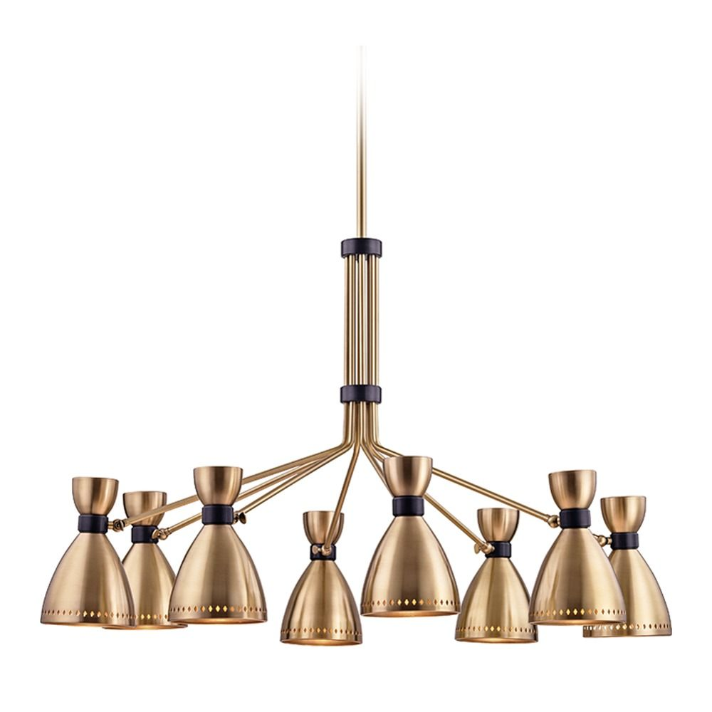 mid century modern brass chandelier 8 lt by hudson valley. Black Bedroom Furniture Sets. Home Design Ideas