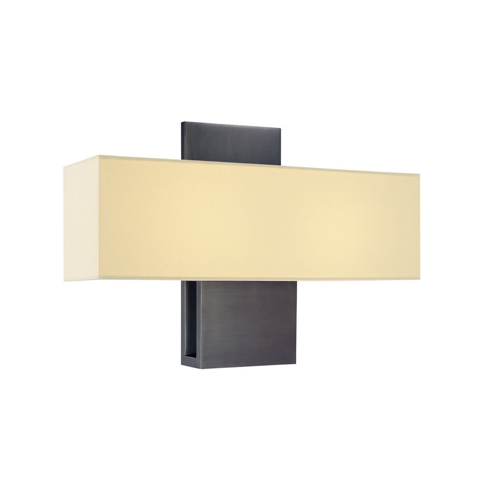 Modern Sconce Wall Light with White Shade in Rubbed Bronze Finish 1861.24F Destination Lighting