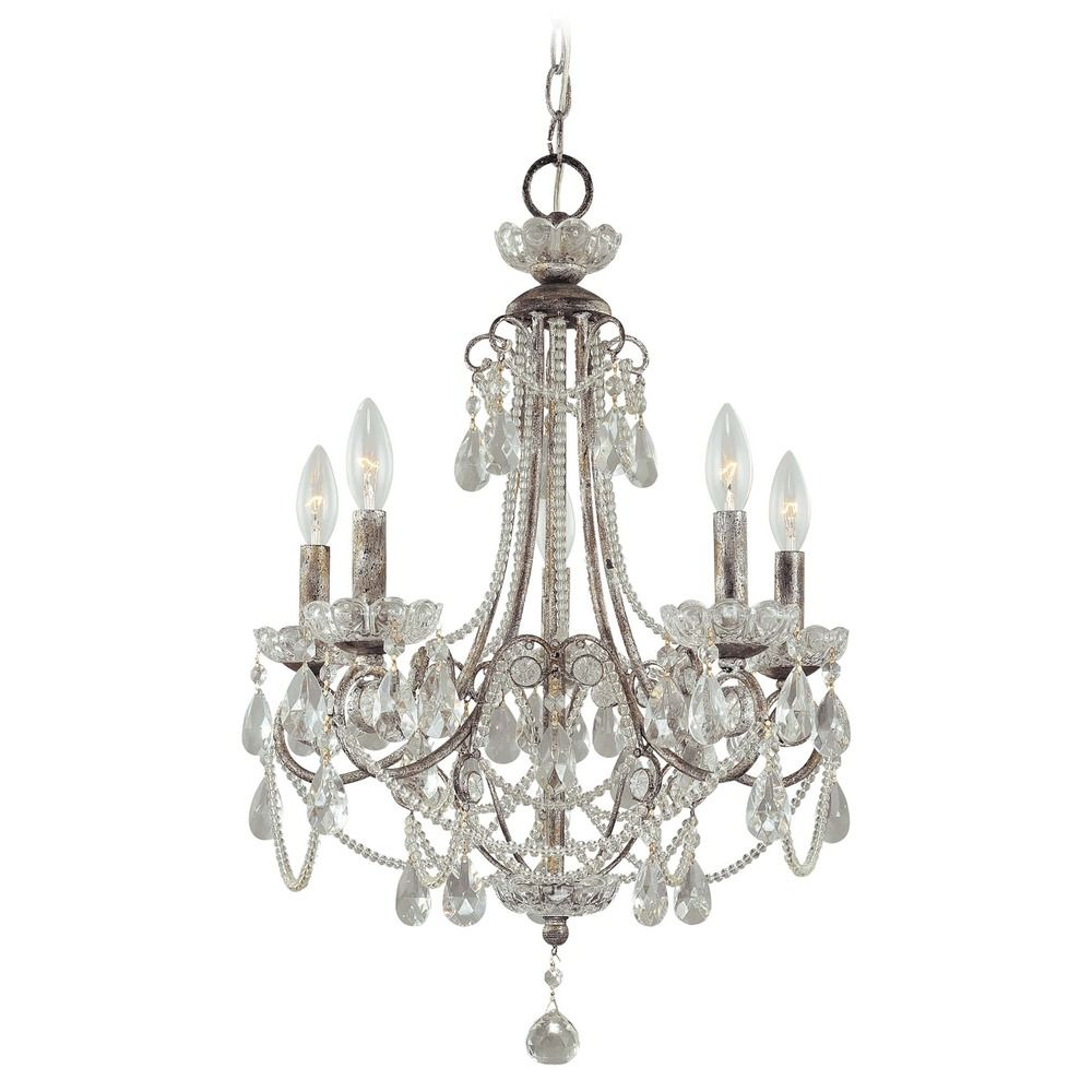 Mini Chandelier in Distressed Sil Finish