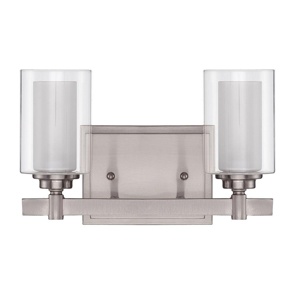 Craftmade celeste brushed polished nickel bathroom light for Polished nickel bathroom lighting