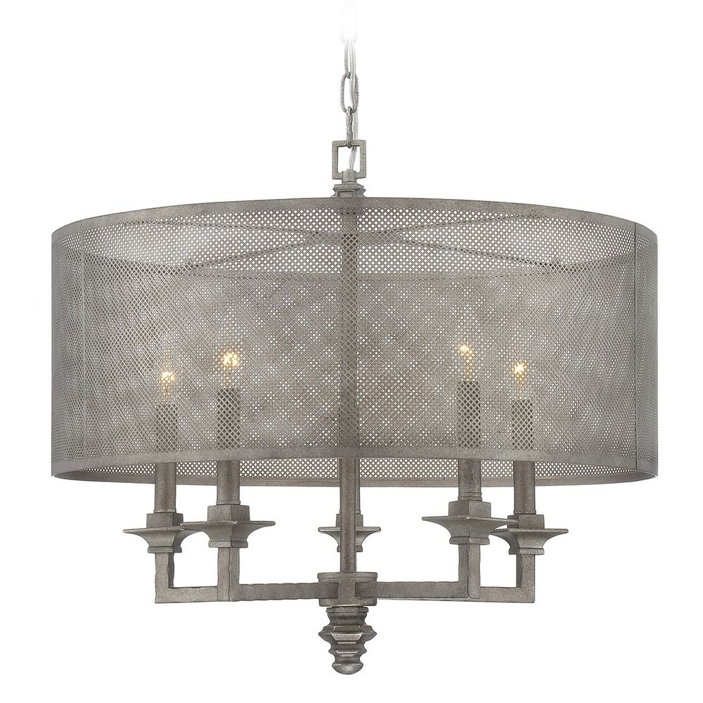 Savoy House Aged Steel Pendant Light With Drum Shade