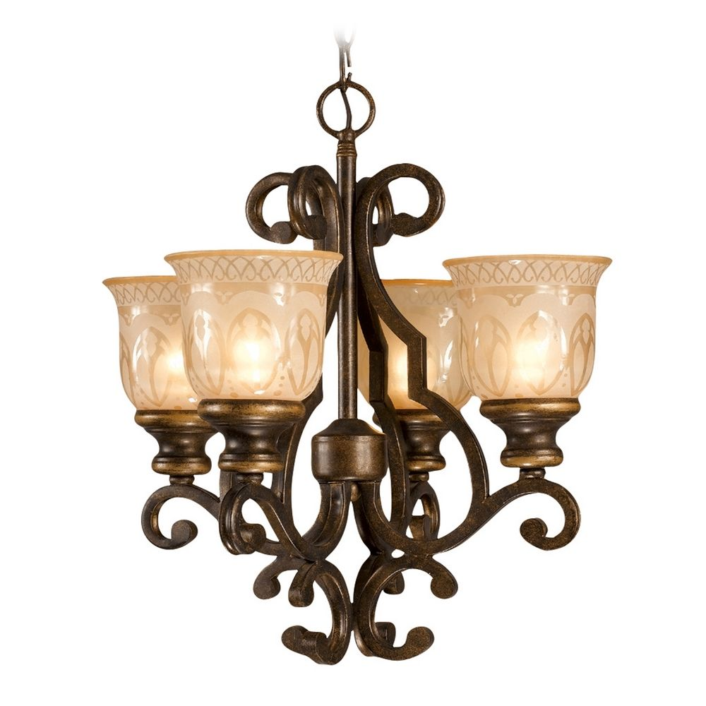 Mini Chandelier With Amber Glass In Bronze Umber Finish