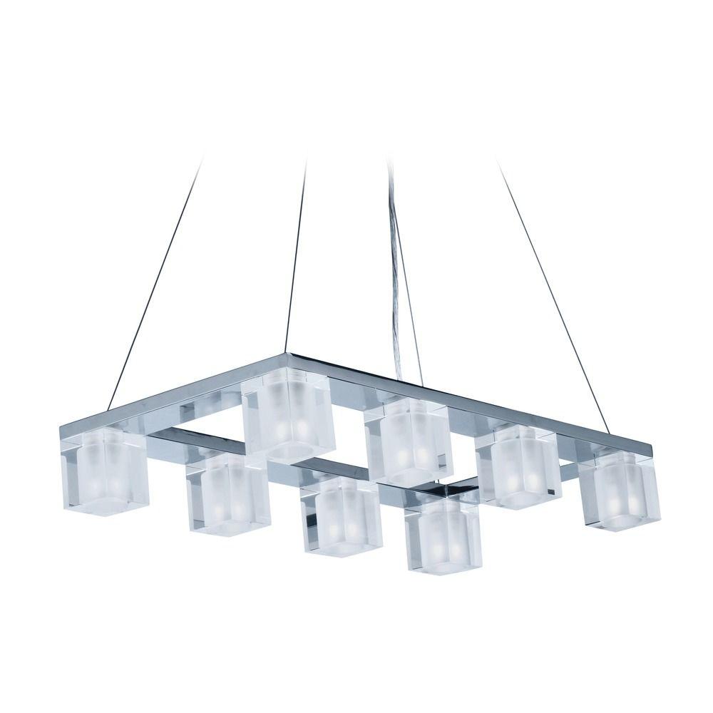 blocs led polished chrome led island light with square shade e32036 18pc destination lighting