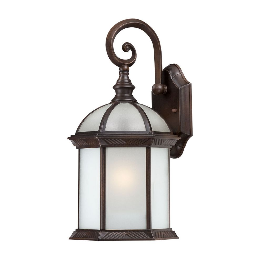 Large Rustic Finish Lantern Wall Mounted Light Sconce: Outdoor Wall Light With White Glass In Rustic Bronze