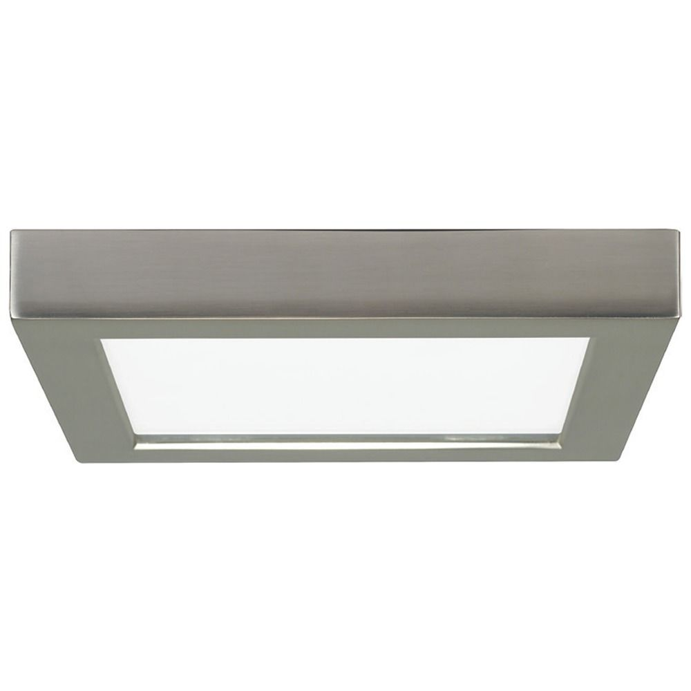 Flush Mount Ceiling Lights Led: 7-Inch Square Nickel Low Profile LED Flushmount Ceiling Light - 2700K,Lighting