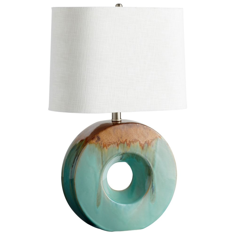 Cyan design oh blue glaze brown table lamp with drum for Brown table lamp shades