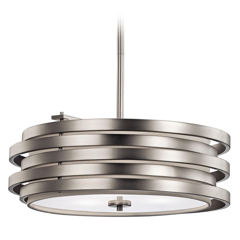 brushed nickel drum pendant lighting