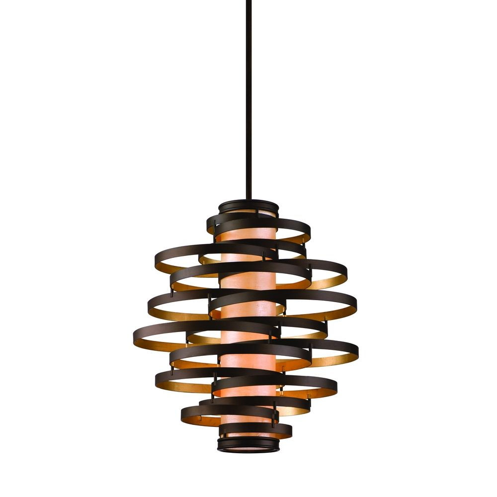 vertical pendant light with inner glass cylinder shade and four lights - Bronze Pendant Light