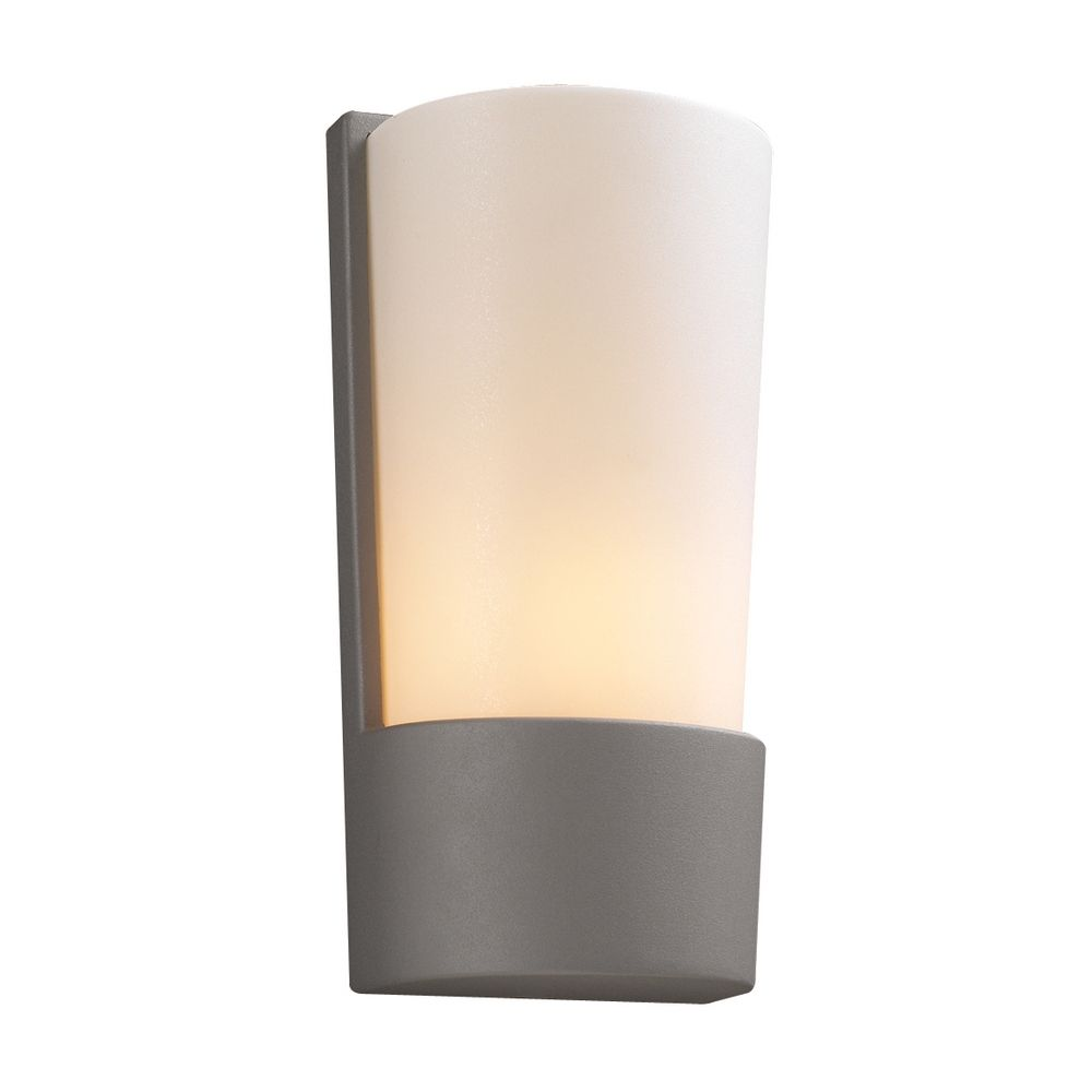 Modern Outdoor Wall Light with White Glass in Silver Finish 1721 SL Destination Lighting