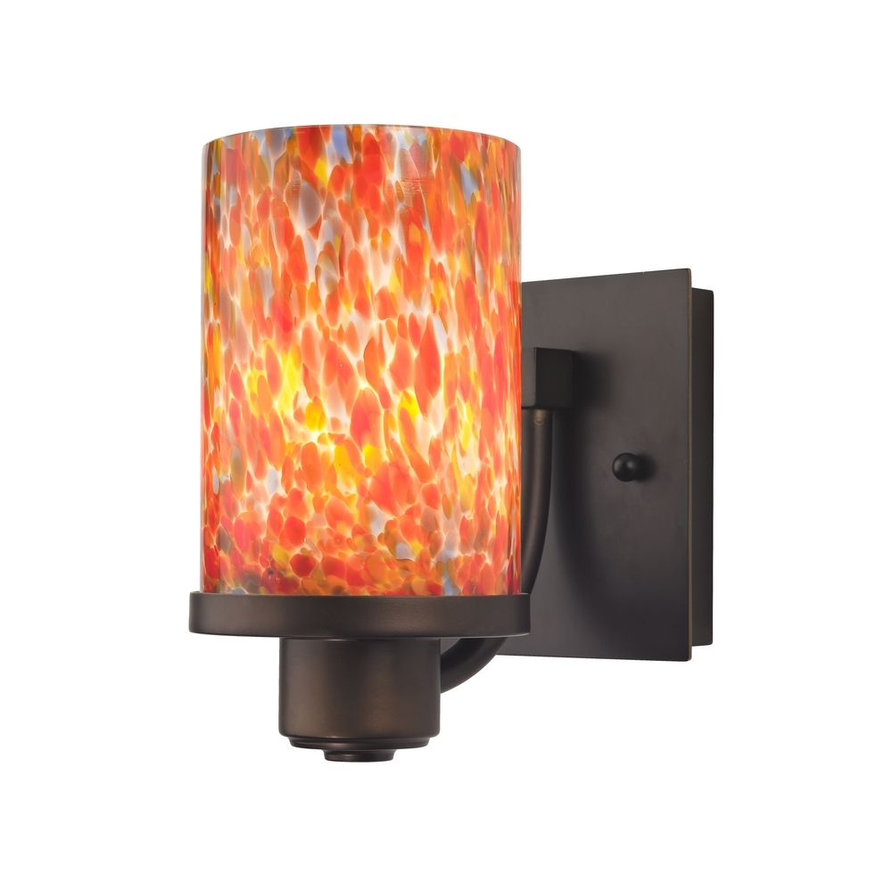 Bronze Wall Sconce with Multi-Colored Art Glass 589-220 GL1012C Destination Lighting