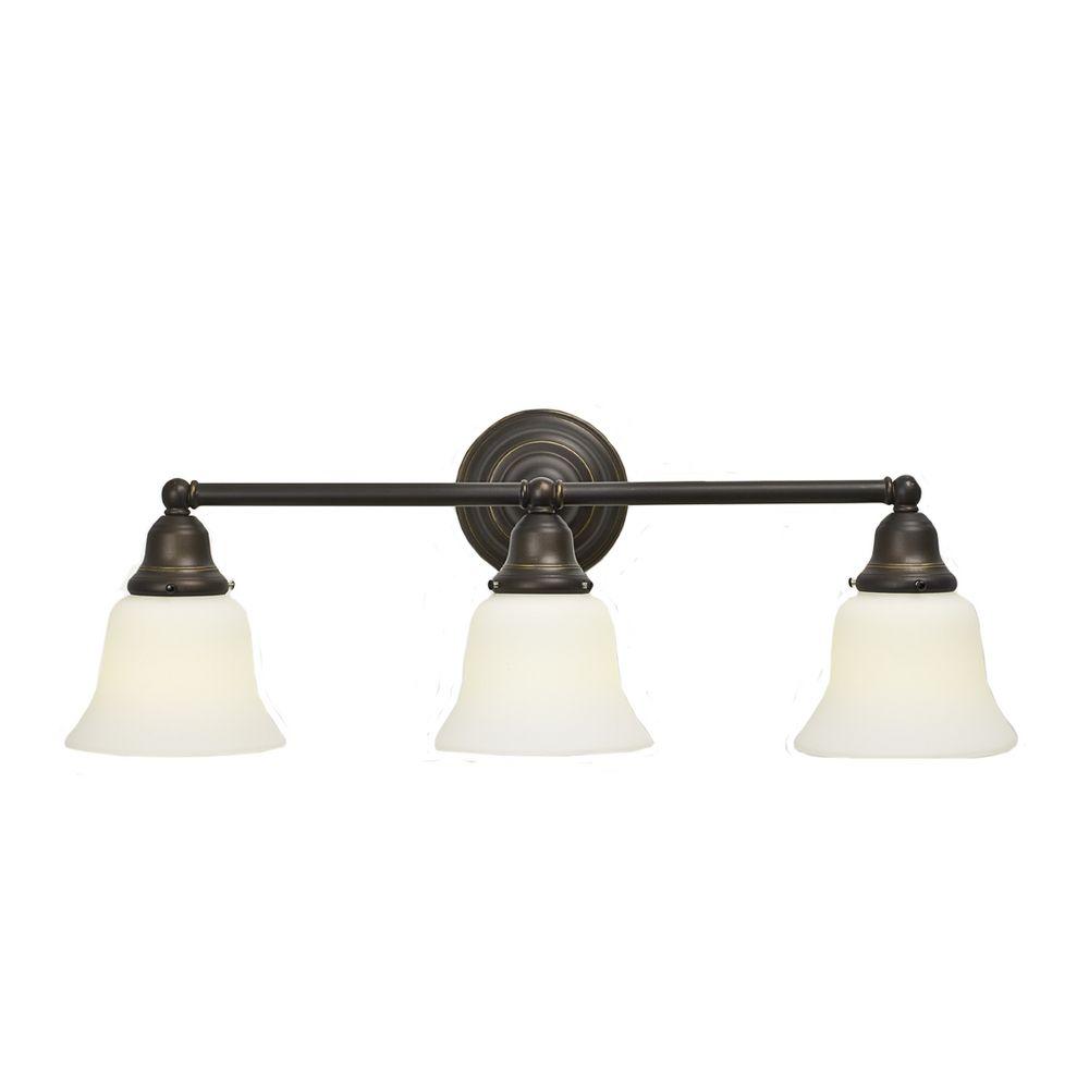 Bronze Bathroom Lights: Traditional Fluorescent 3-Light Bathroom Light Bronze