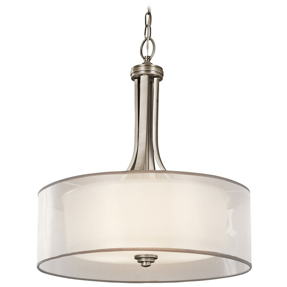 Kichler Drum Pendant Light With White Glass In Antique Pewter Finish 42385A