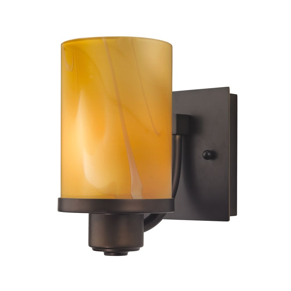 Bronze Wall Sconce With Shade : Bronze Wall Sconce with Cylinder Butterscotch Art Glass Shade 589-220 GL1022C Destination ...
