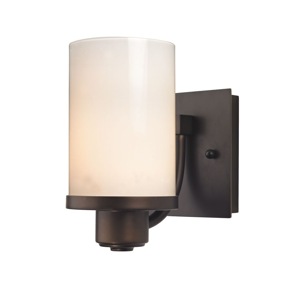 Modern White Wall Sconces : Modern Sconce Wall Light with White Glass in Neuvelle Bronze Finish 589-220 GL1024C ...