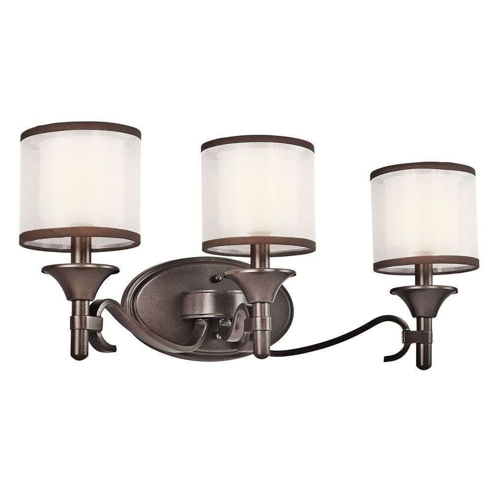 kichler bathroom light with white glass in mission bronze 13708