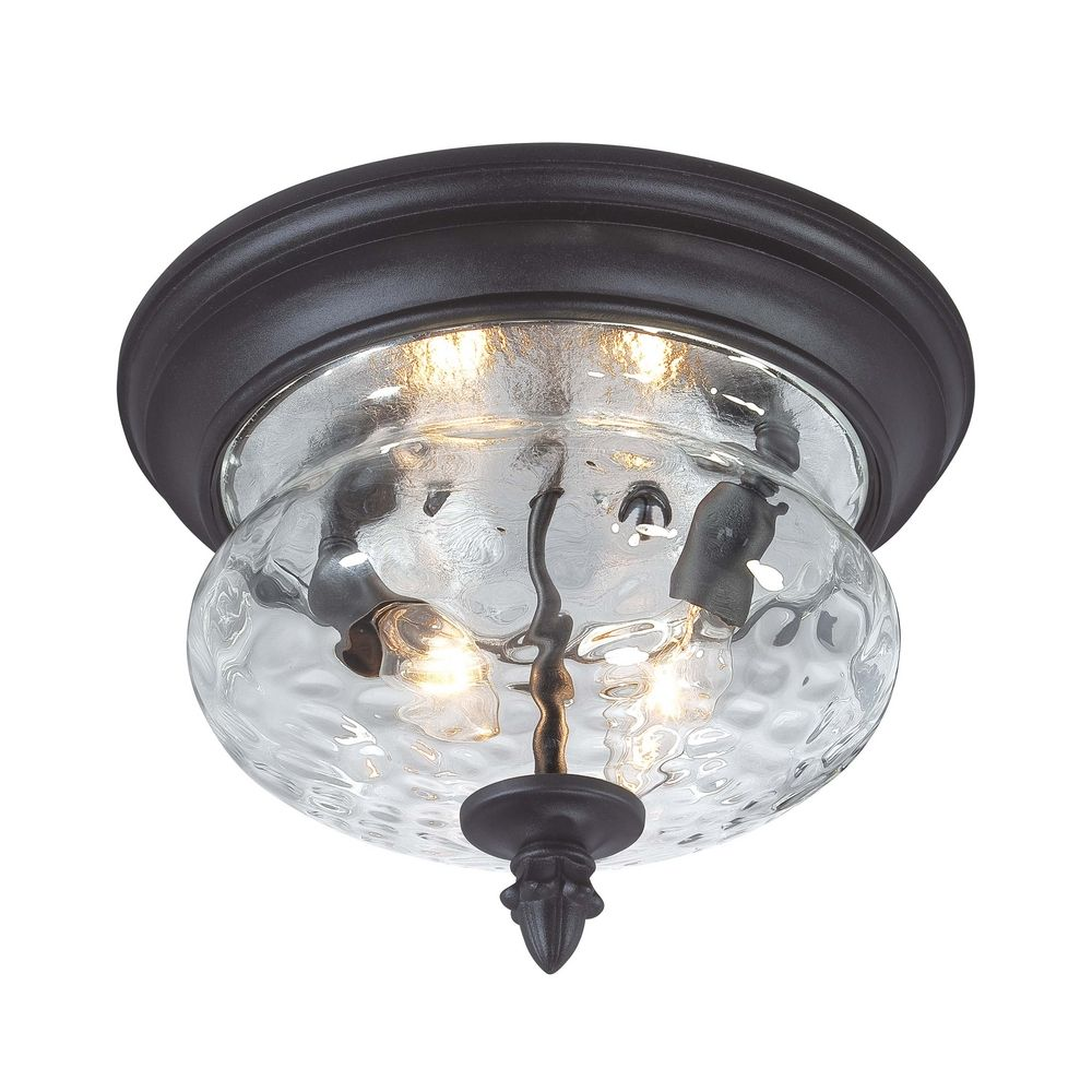 Black glass ceiling lights : Close to ceiling light with clear glass in black finish