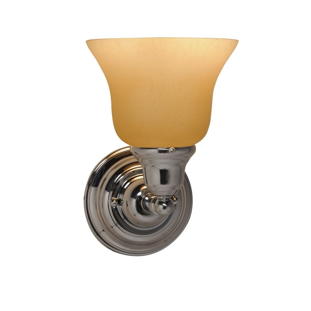 Wall Sconce Lamp Kit : Craftsman Wall Sconce with Amber Glass in Chrome Finish 671-26/G9999 KIT Destination Lighting