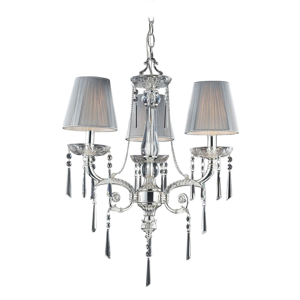 Mini Chandelier with Beige Cream Shades in Polished