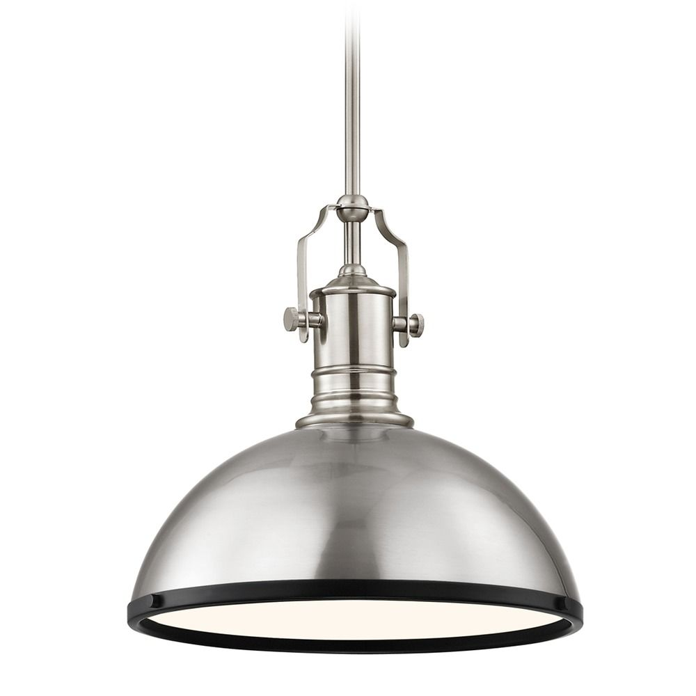 Farmhouse Pendant Light Satin Nickel And Black 13 38 Inch Wide At Destination Lighting