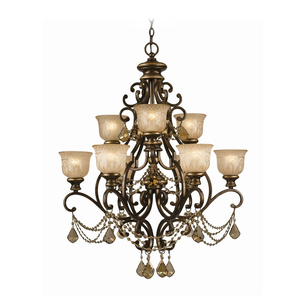 Crystal chandelier with amber glass in bronze umber finish 7509 bu crystorama lighting crystal chandelier with amber glass in bronze umber finish 7509 bu gt aloadofball Images