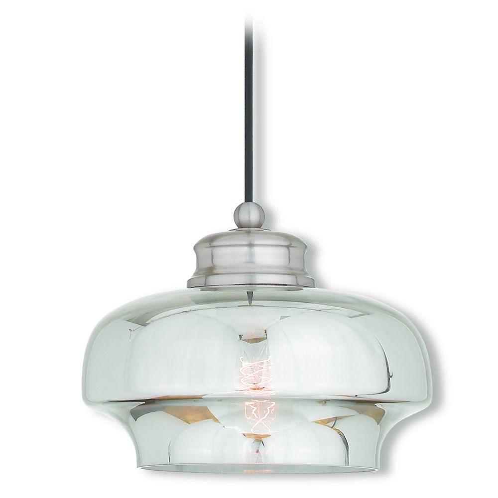 Livex lighting art glass mini pendant brushed nickel mini Artisan glass pendant lights