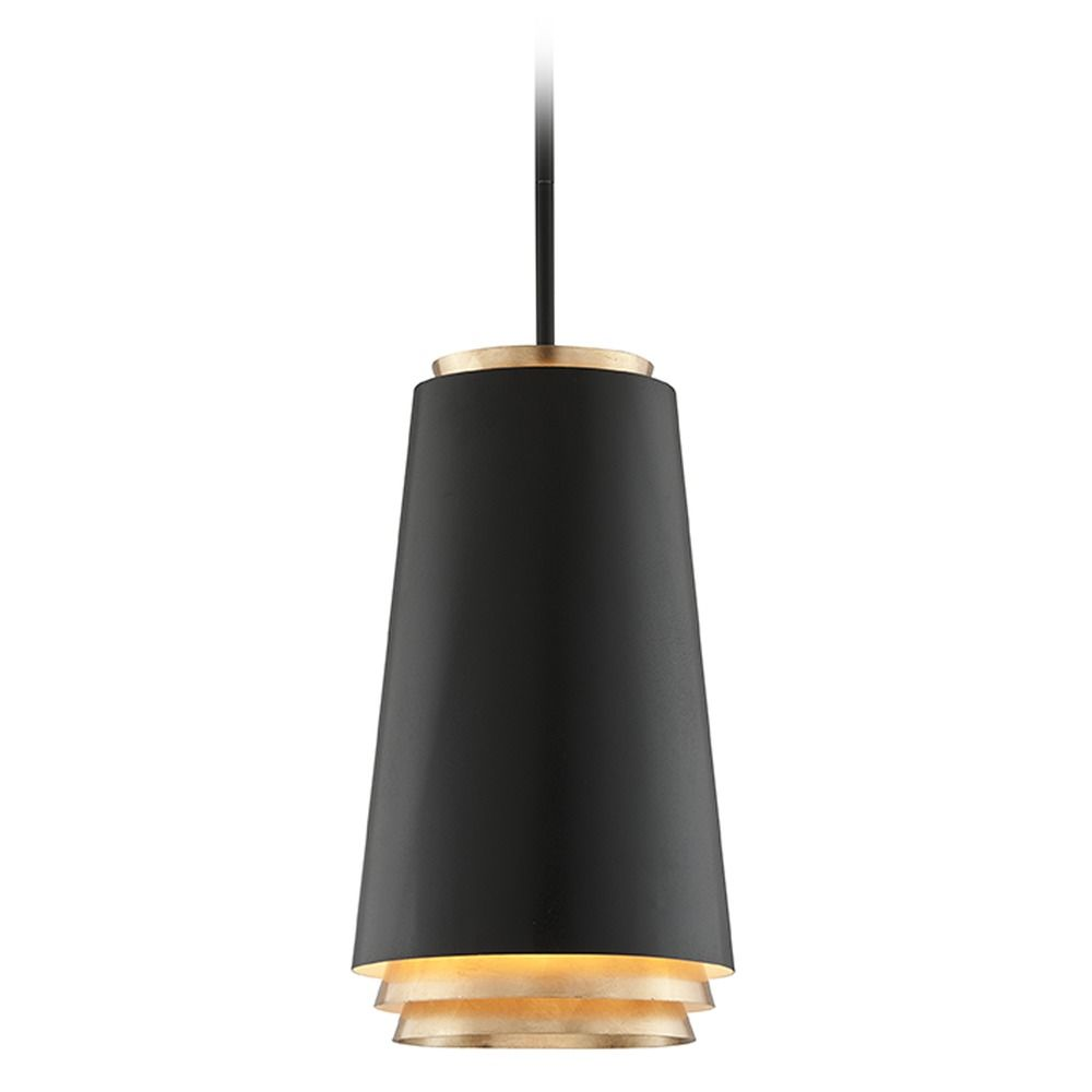 Art Deco LED Pendant Light Black / Gold Leaf Fahrenheit by ...