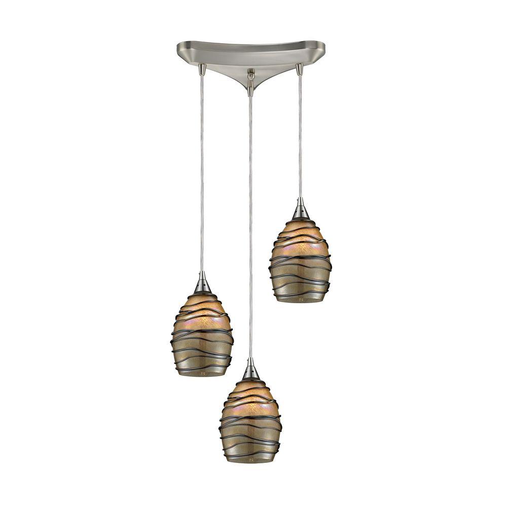 modern multi light pendant light with multi colored glass