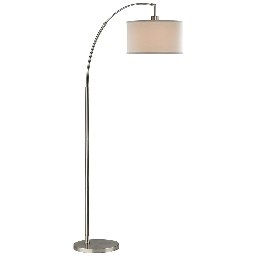 Satin nickel arc floor lamp with modern drum shade 2278 for Arched floor lamp with drum shade