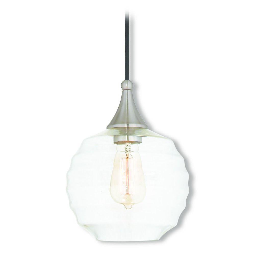 Livex Lighting Art Gl Mini Pendant Brushed Nickel Light With Globe