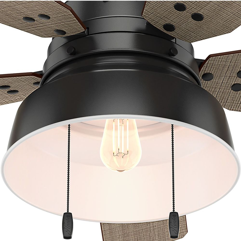 Hunter 52 Inch Matte Black Ceiling Fan With Light 59310 Destination Lighting