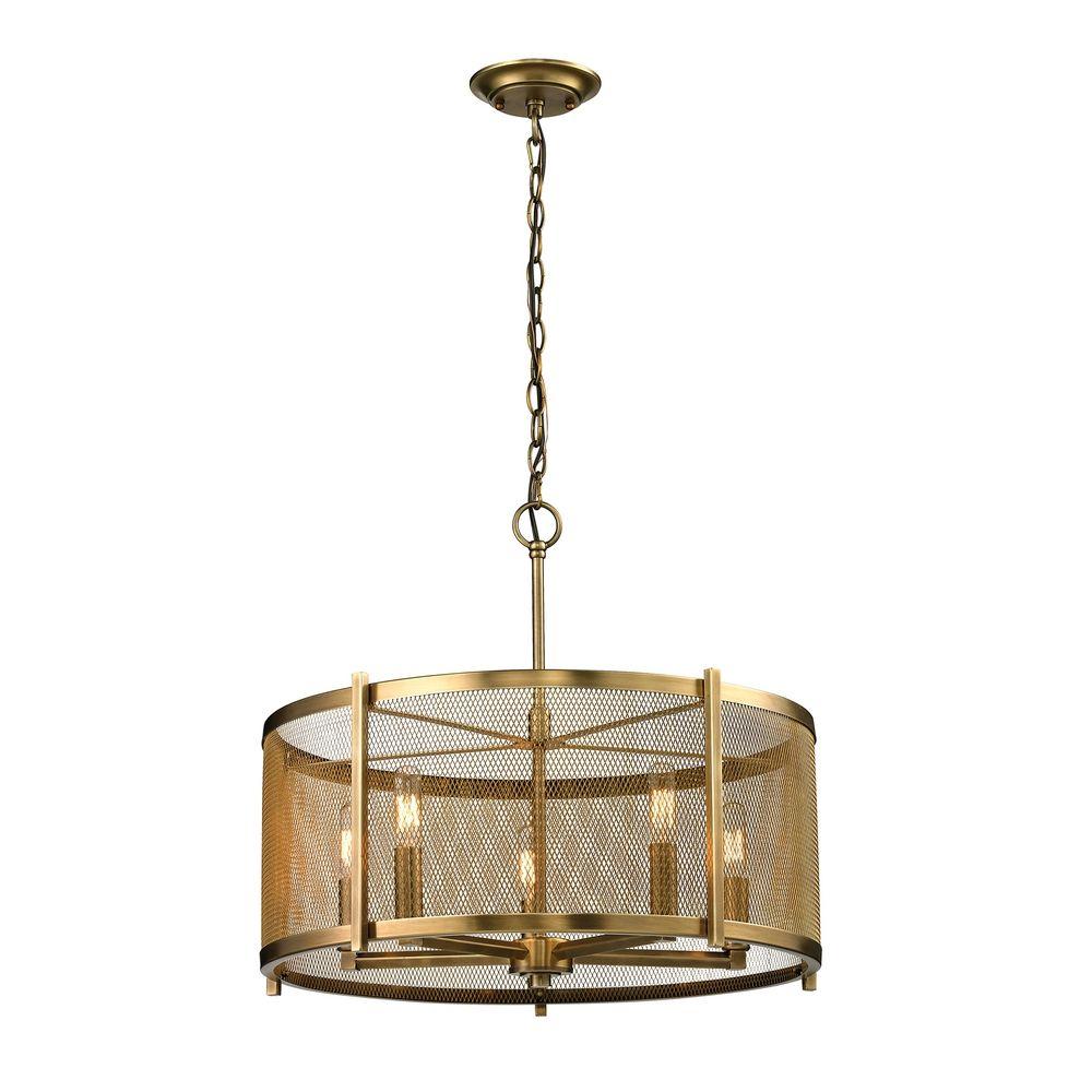 metal drum pendant light in aged brass finish 31483 5