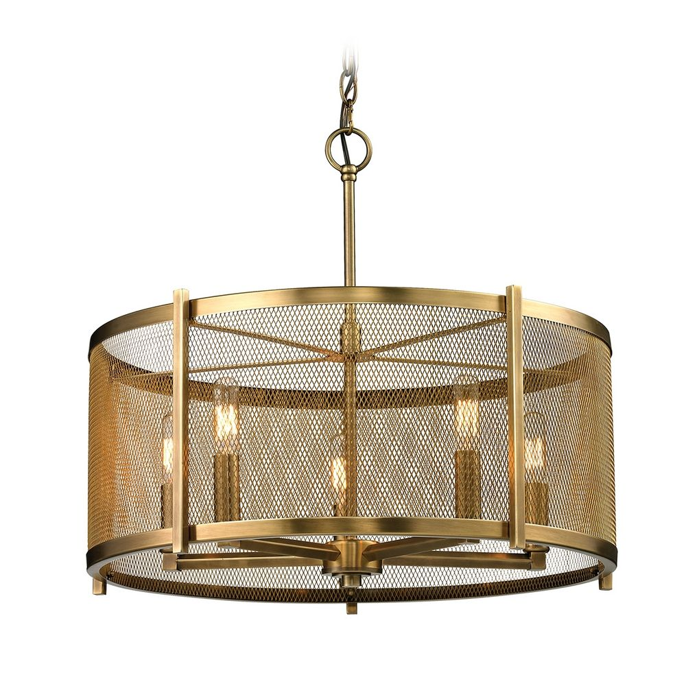 metal drum pendant light in aged brass finish    - product image