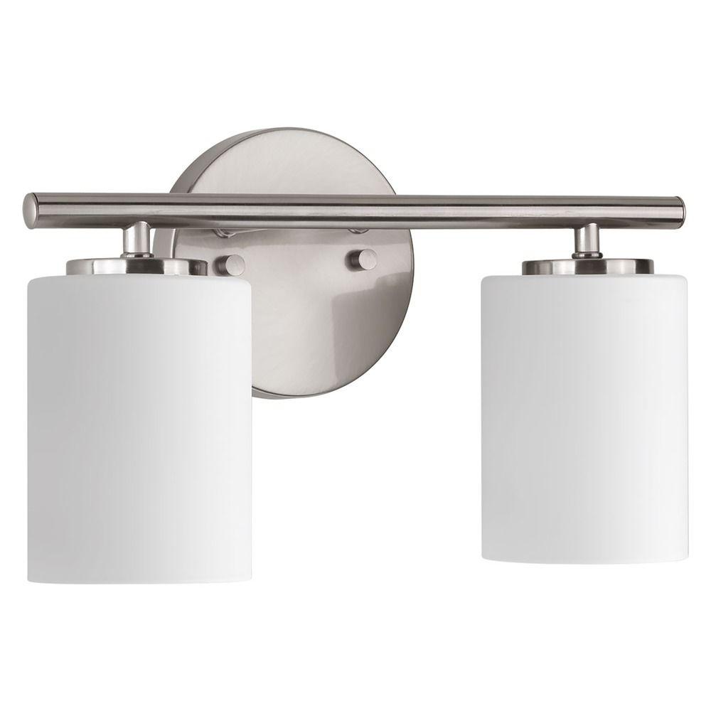 Modern bathroom light brushed nickel replay by progress for Polished nickel bathroom lighting