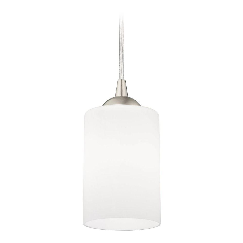Hgtv Home Cassandra Blown Glass Mini Pendant Modern: Modern Mini-Pendant Light With White Cylinder Glass