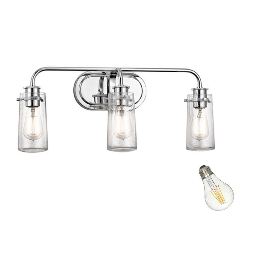 Seeded Glass Led Bathroom Light Chrome Kichler Lighting 45459ch Destination Lighting