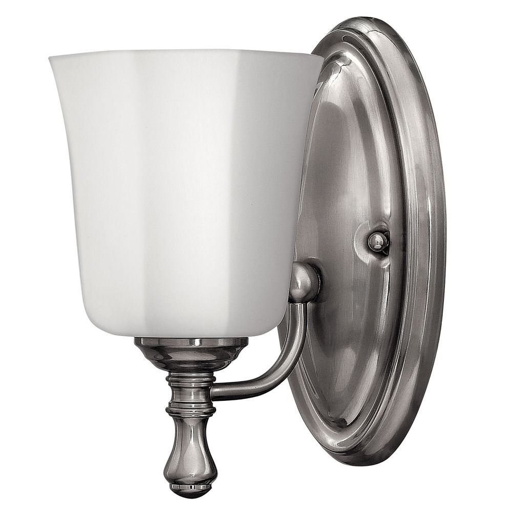 Sconce With White Glass In Brushed Nickel Finish 5010bn Destination Lighting