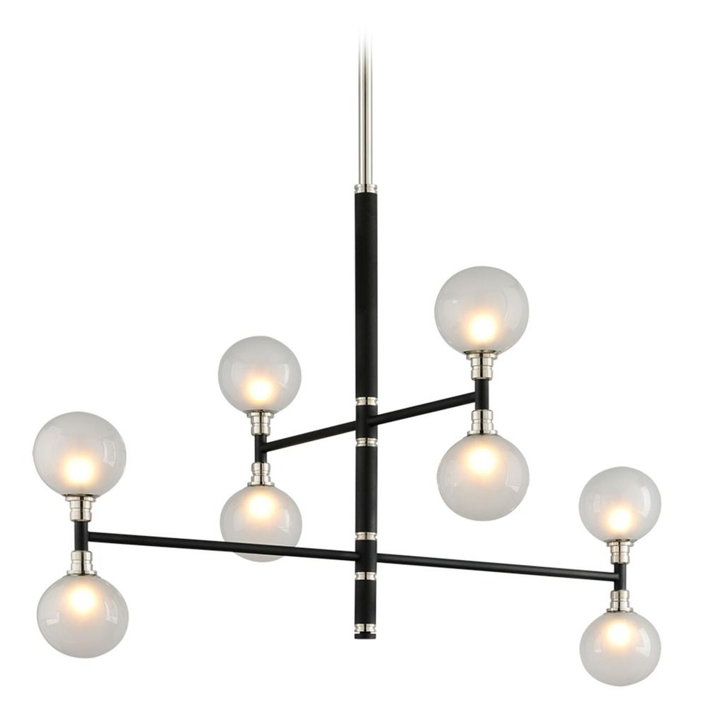 Mid Century Modern Pendant Light Black And Polished Nickel