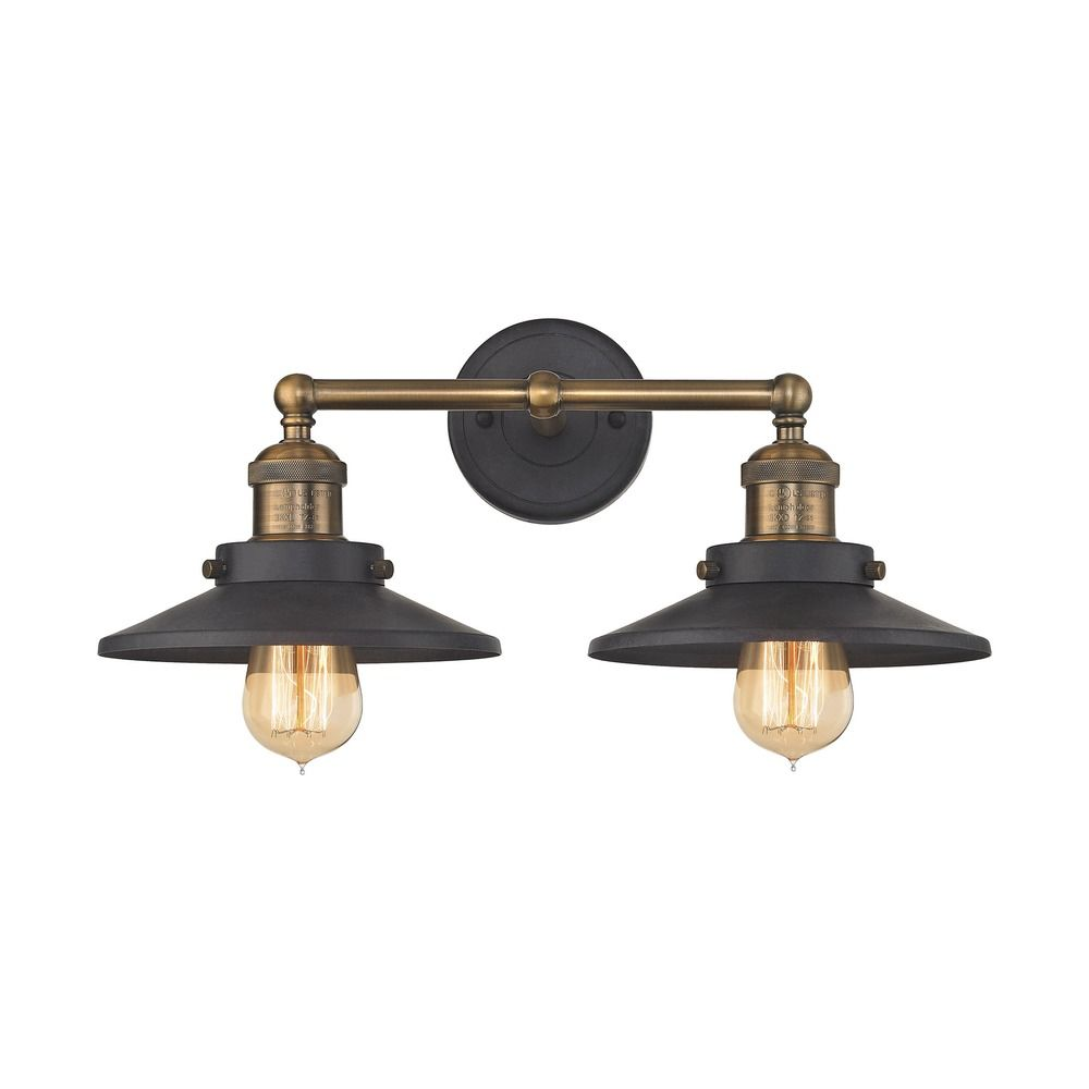 Mid Century Modern Bathroom Light Antique Brass Graphite English Pub By Elk Lighting 67181 2