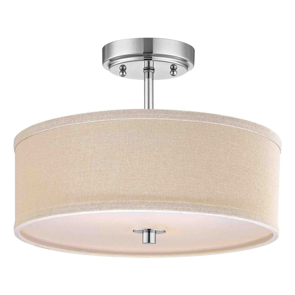 chrome drum ceiling light with linen shade 14