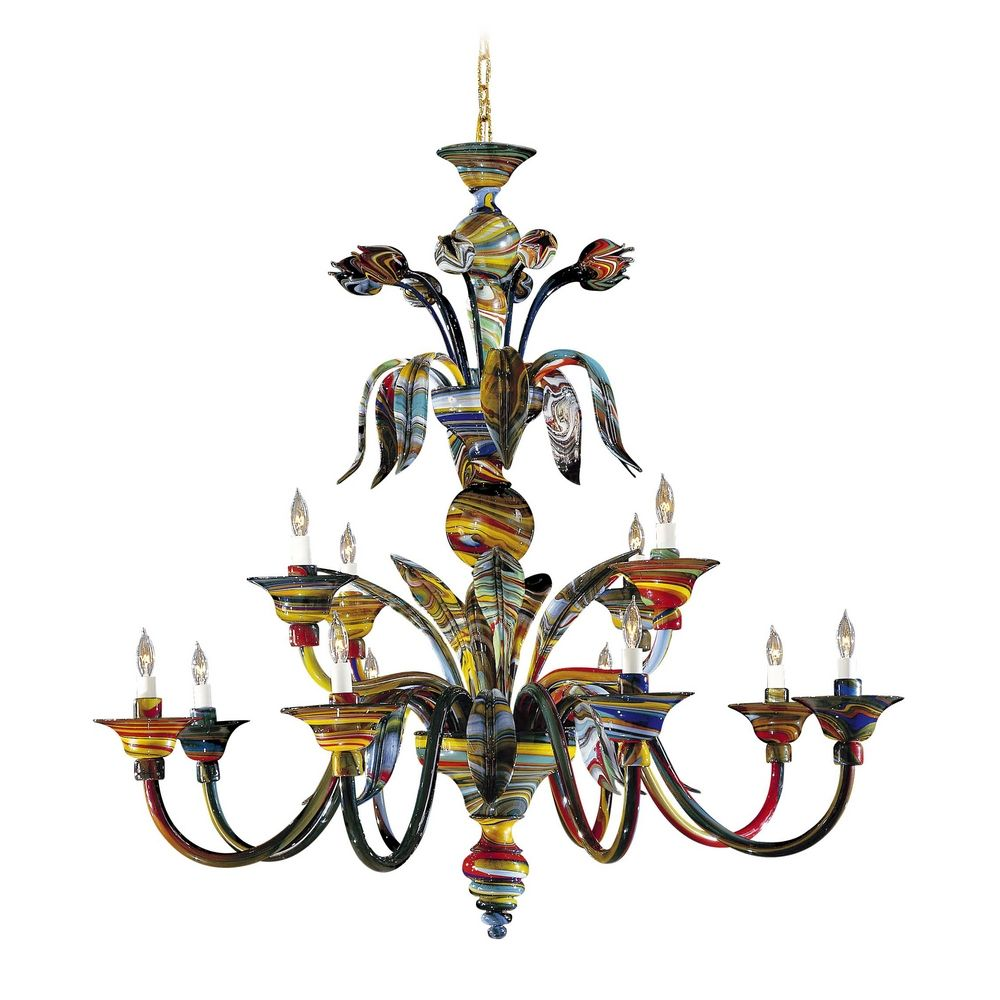 Chandelier with multi color glass in multicolor finish c705612 hover or click to zoom arubaitofo Image collections