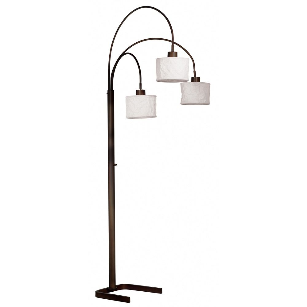 Modern Arc Lamp With White Paper Shades In Oil Rubbed